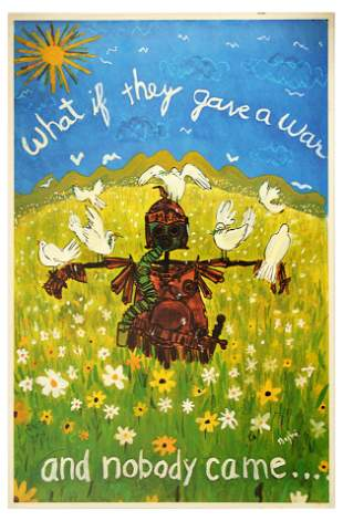 War Poster War Scarecrow Doves Flower Soldier USA