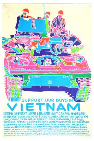 War Poster Vietnam War Psychedelic Tank Support Our