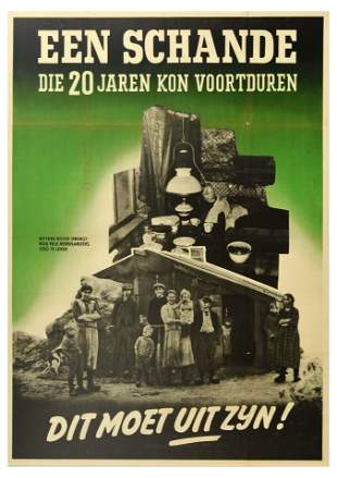 War Poster WWII Disgrace Dutch Nazi Family Poverty
