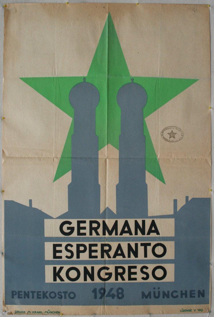 Original advertising poster Esperanto Congress 1947