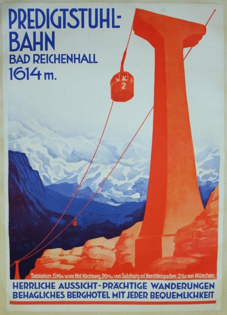 Original ski resort poster Predigstuhl-Bahn Art Deco