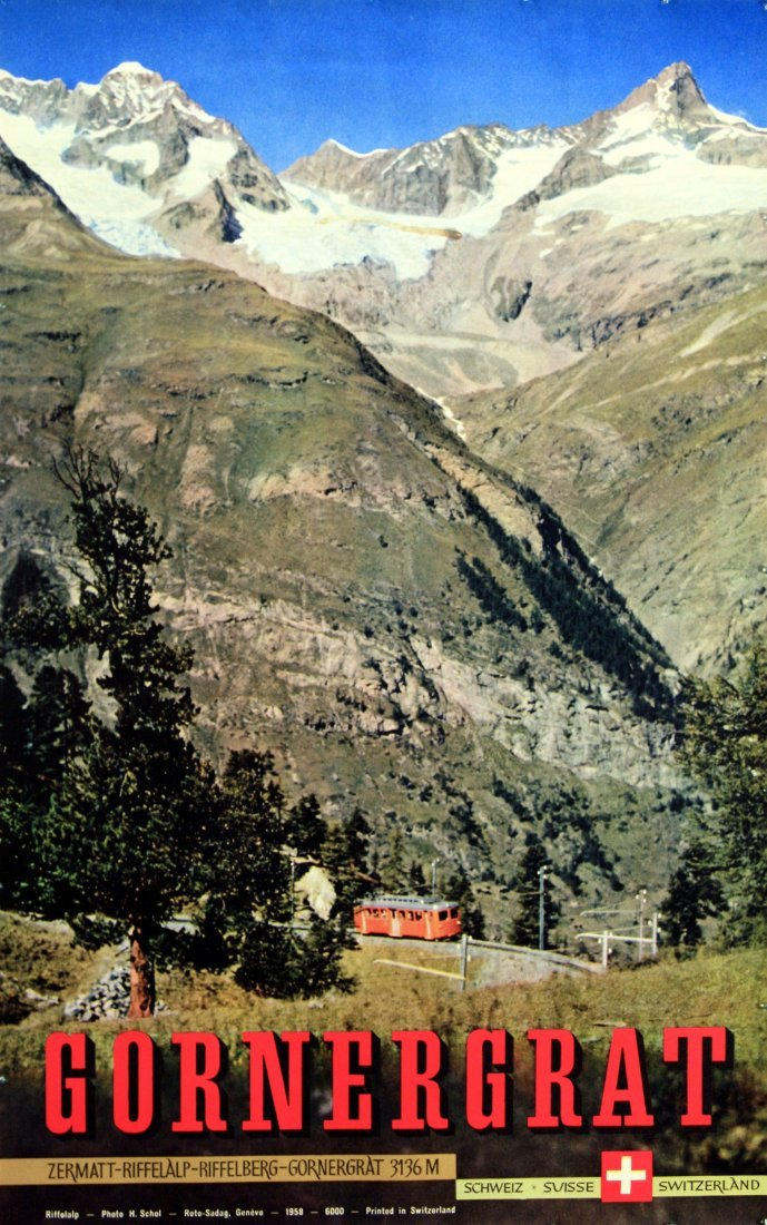 Original ski resort poster Gornergrat Switzerland