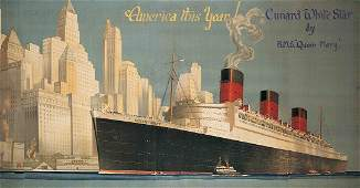 Poster Queen Mary Cunard White Star Cruise Ship Line