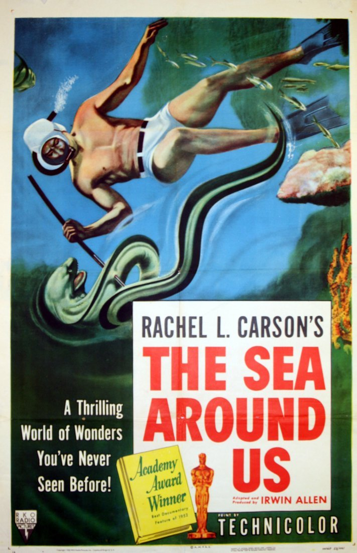 Original movie poster The Sea Around Us Oscar Diving