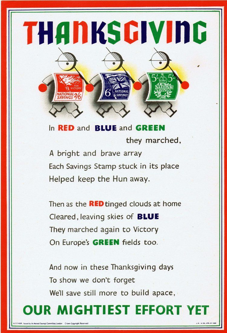 Original WWII propaganda poster Thanksgiving stamps