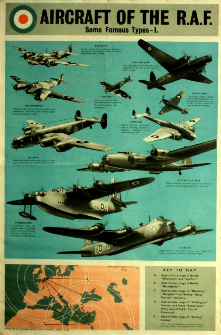 Original WWII Aircraft of the RAF propaganda poster UK