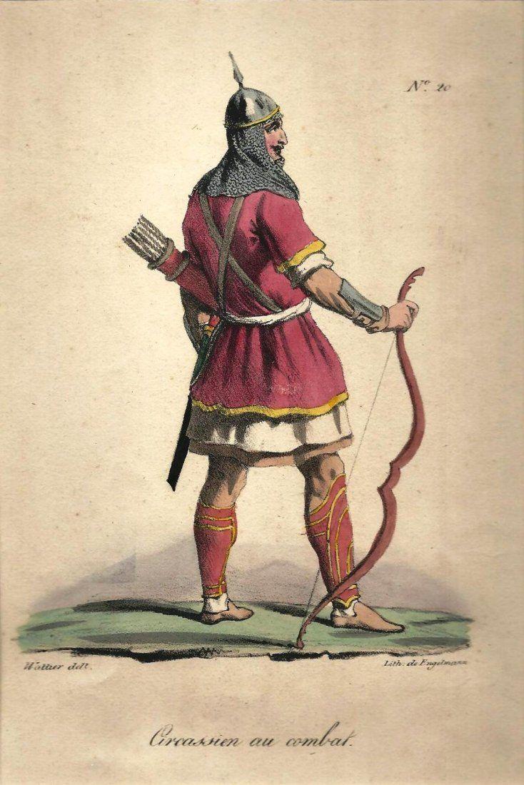 Czerkess Warrior Hand coloured engraving