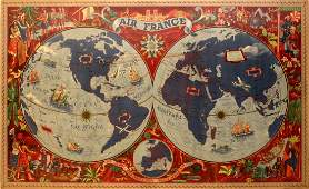 Travel Posters Air France Planisphere Lucien Boucher