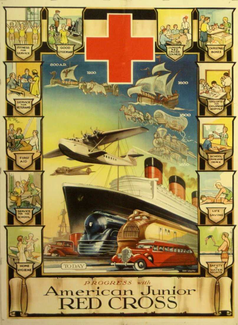 Art Deco Poster USA Red Cross Flying Boat Cruise Ship