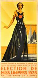 Art Deco Poster Miss Universe 1935 Beauty Peagant