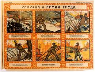 Propaganda Poster Ruin and army of labour