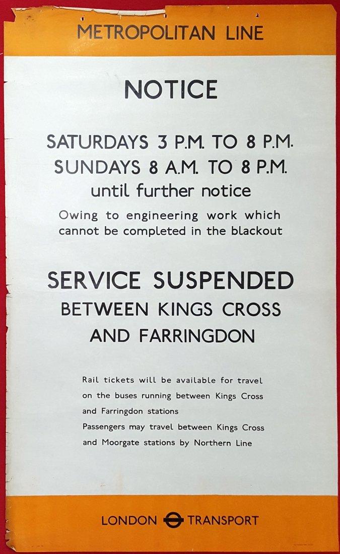Original London Underground Poster Blackout WWII WW2