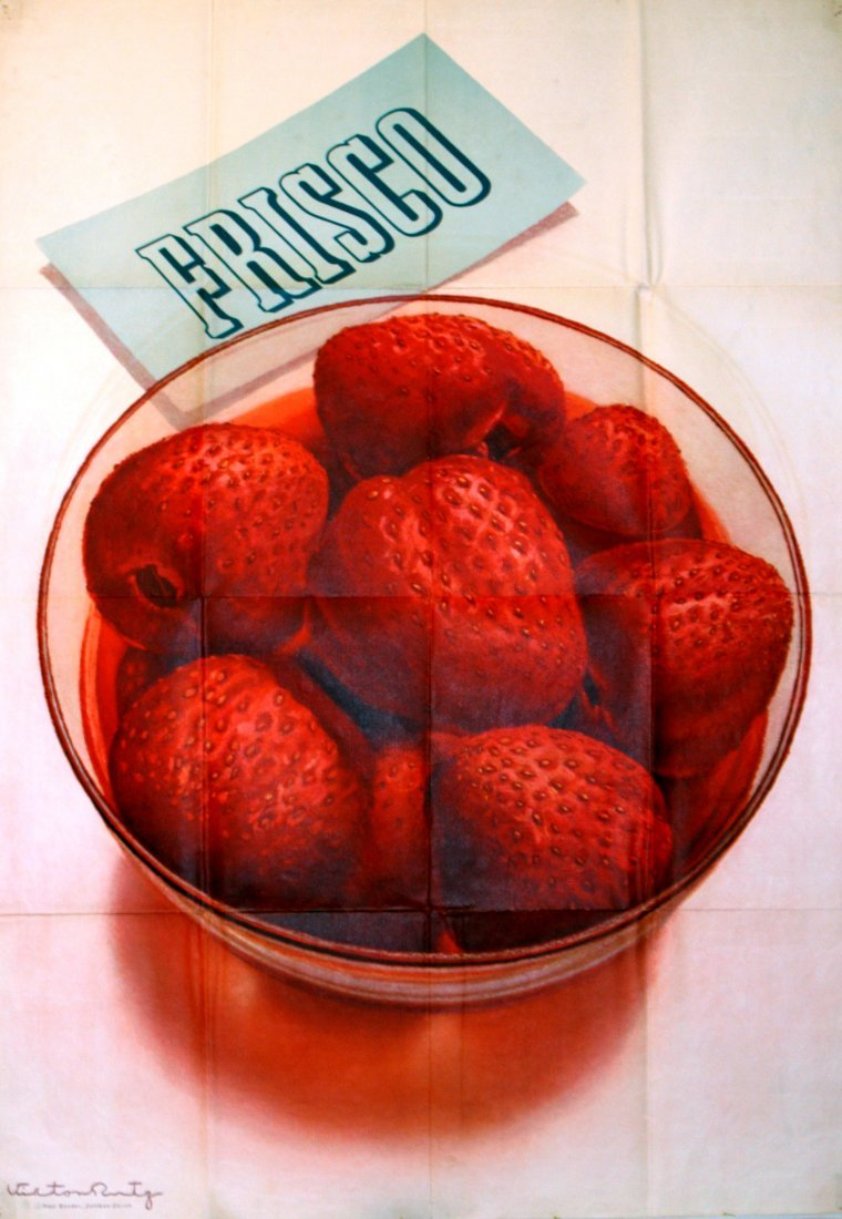 Original 1942 advertising poster Frisco strawberries