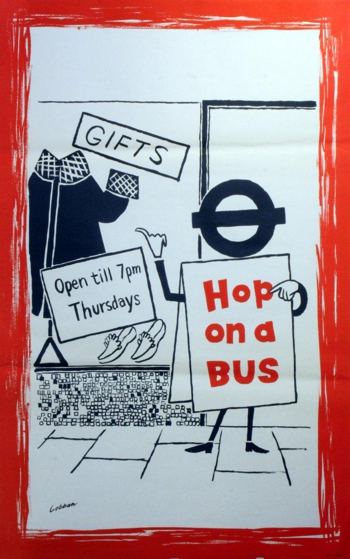Original Advertising Poster London Transport Bus Shop