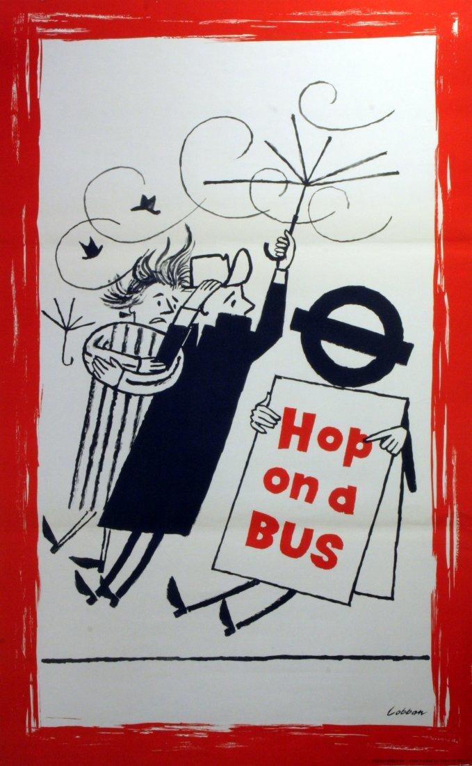 Original Advertising Poster London Transport Bus Wind