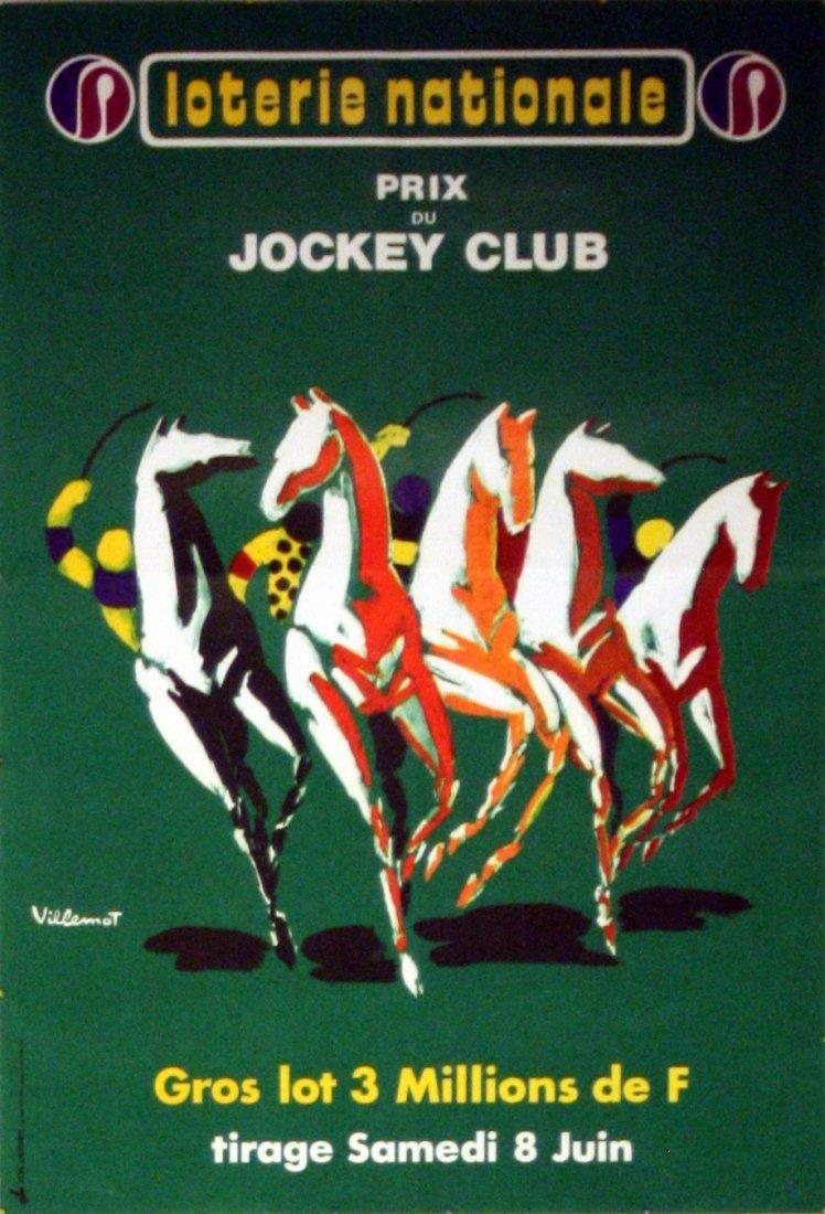 Advertising Poster Loterie Nationale Jockey Villemot