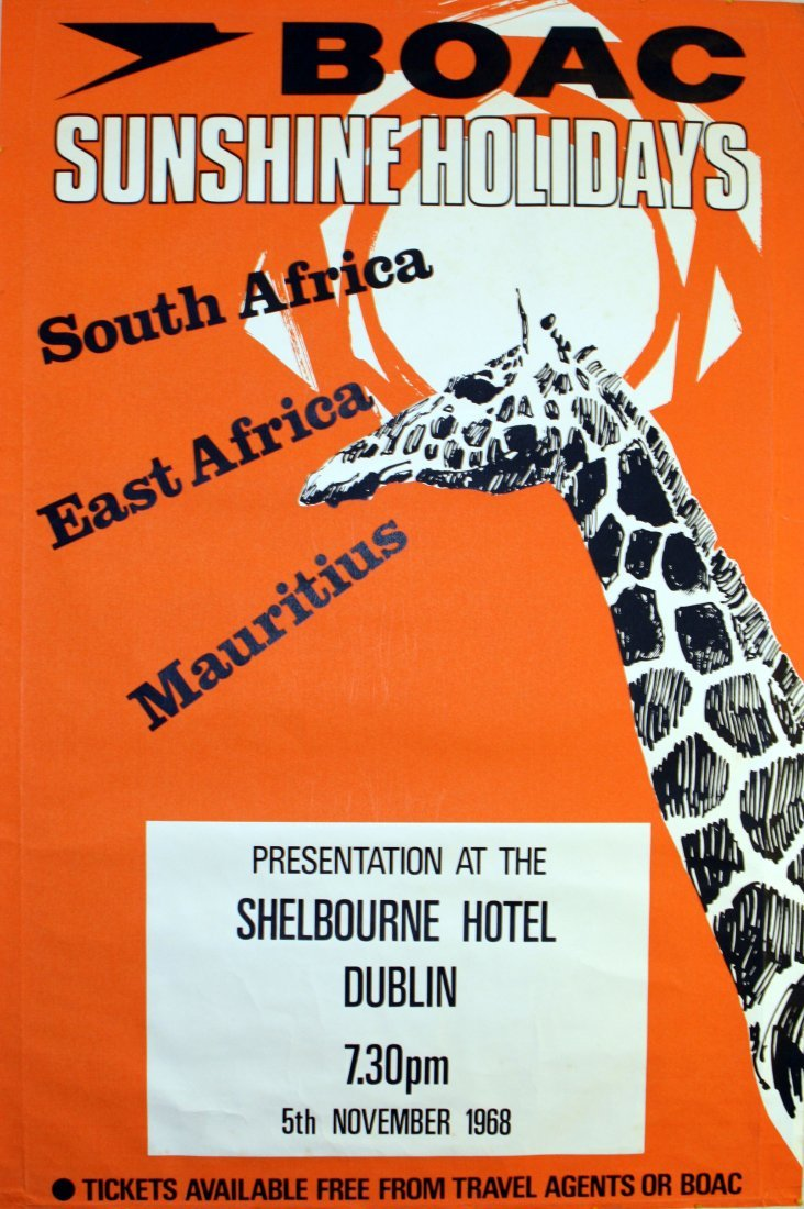Original travel advertising poster BOAC Africa