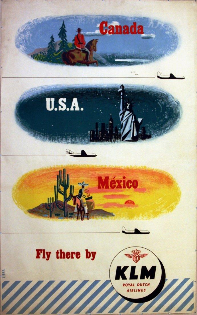 Travel Poster Canada USA Mexico KLM