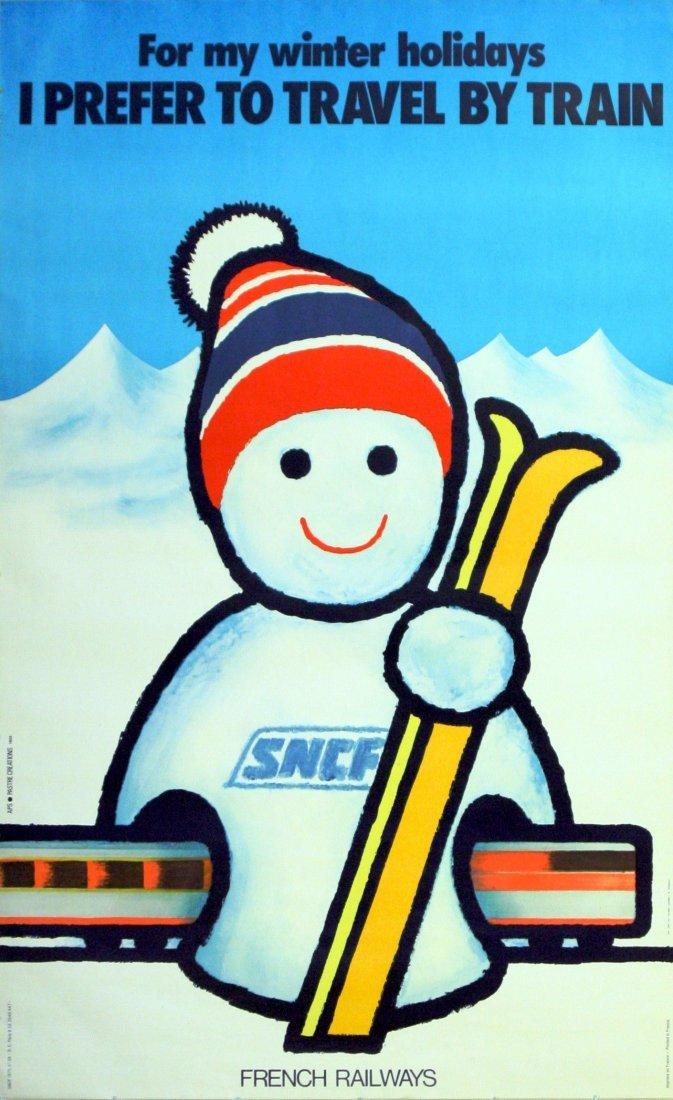 Sport Poster SNCF Ski France Winter Holidays