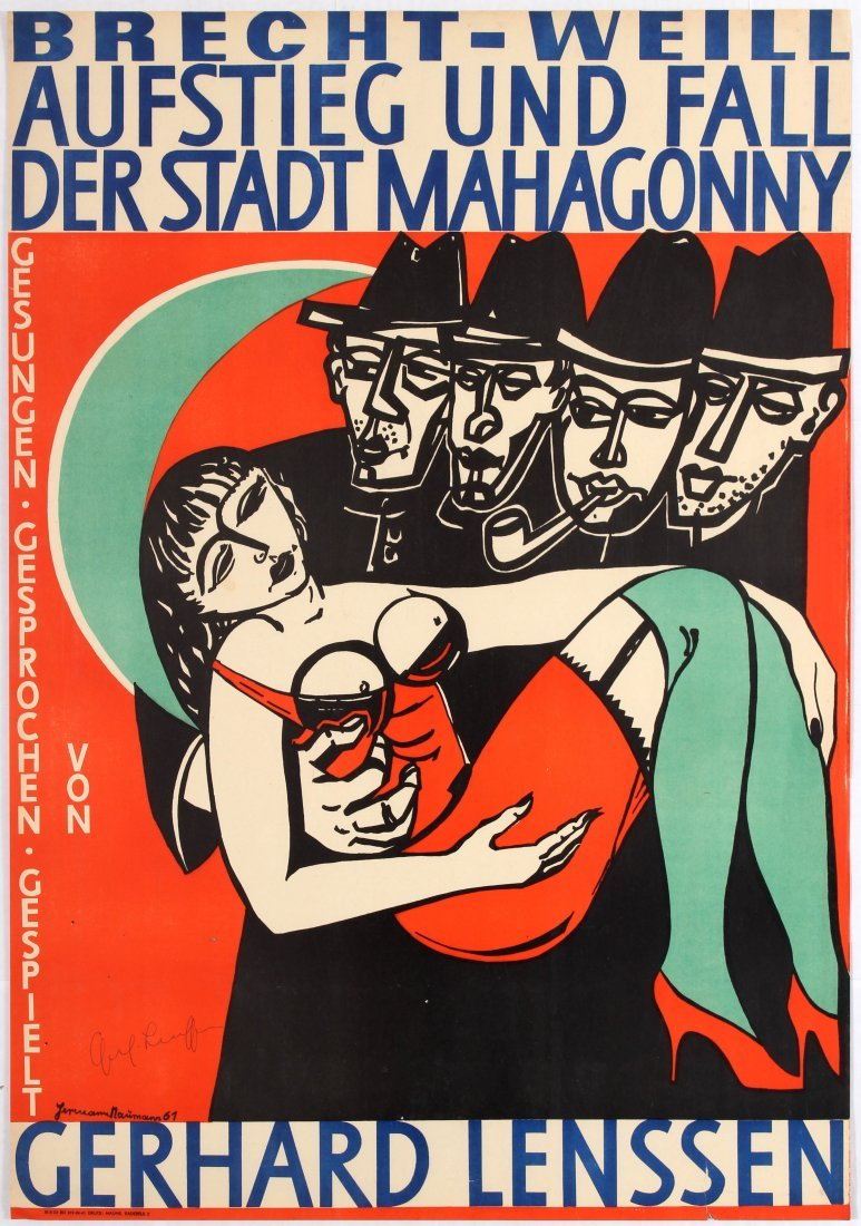 German Advertising Poster for the Satirical Opera