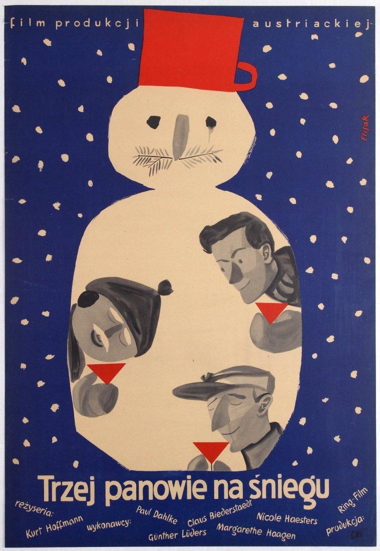 Polish Movie Poster Austrian film Three Men in the Snow