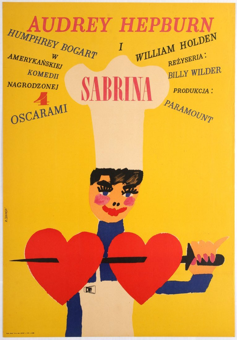 Polish Movie Poster American comedy film Sabrina Audrey