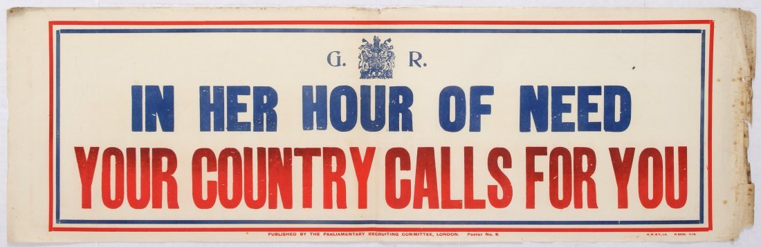 British Propaganda poster - In her Hour of Need, Your