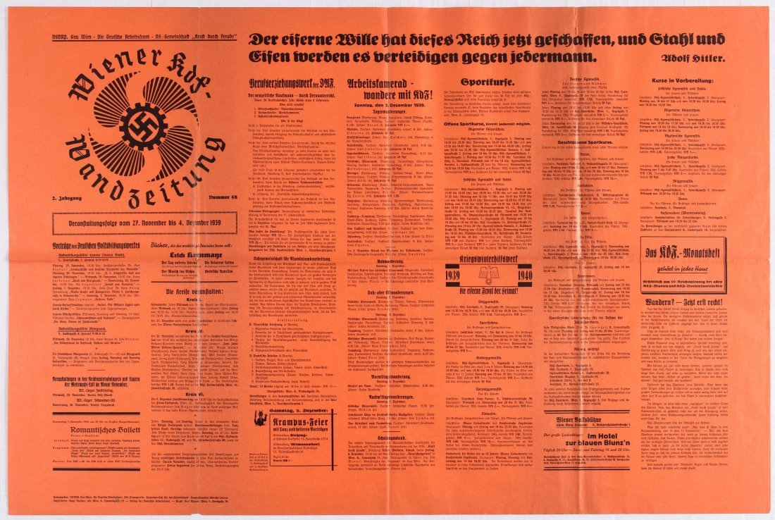 Nazi Propaganda poster - Vienna KdF Wall Newspapper -