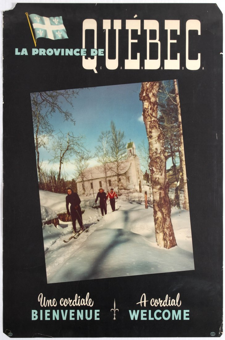 Ski Travel Poster The Province of Quebec A cordial