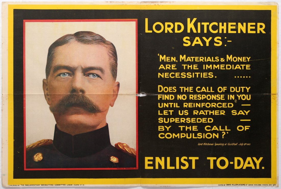 War Propaganda WWI poster Lord Kitchener says Men,