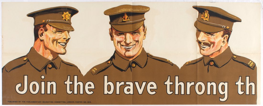 War Propaganda WWI poster Join the brave throng that - 2