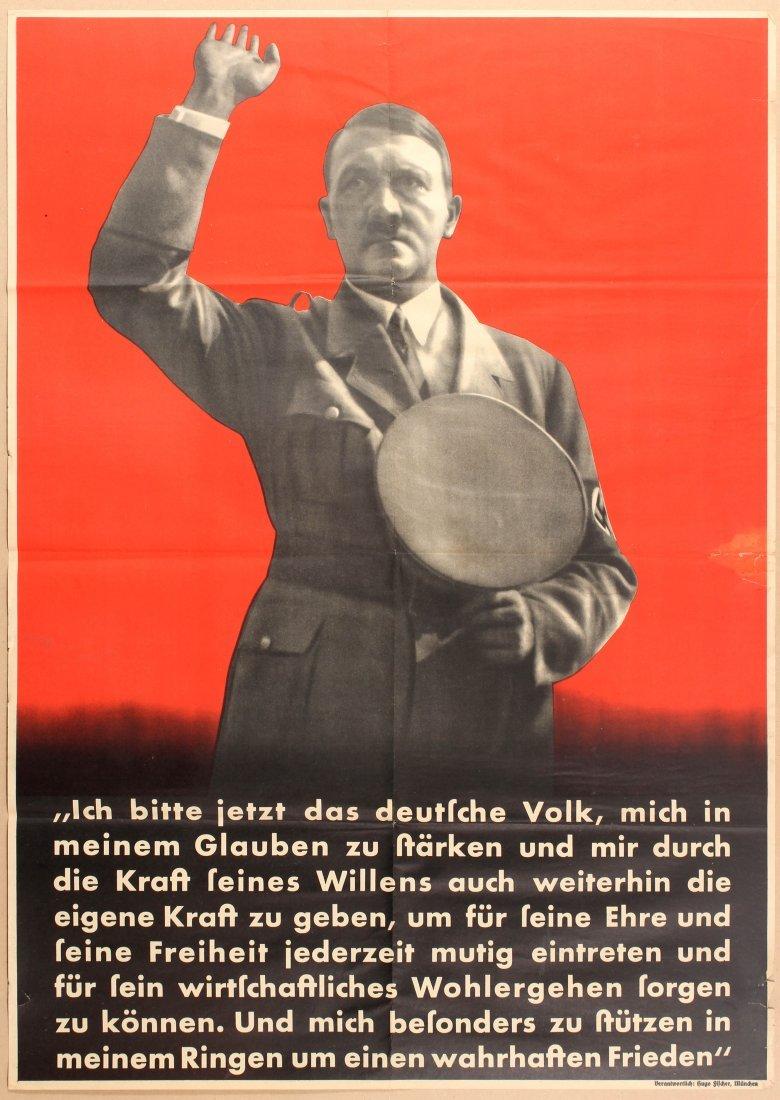 Pre WWII Nazi Propaganda poster Hitler I now call the