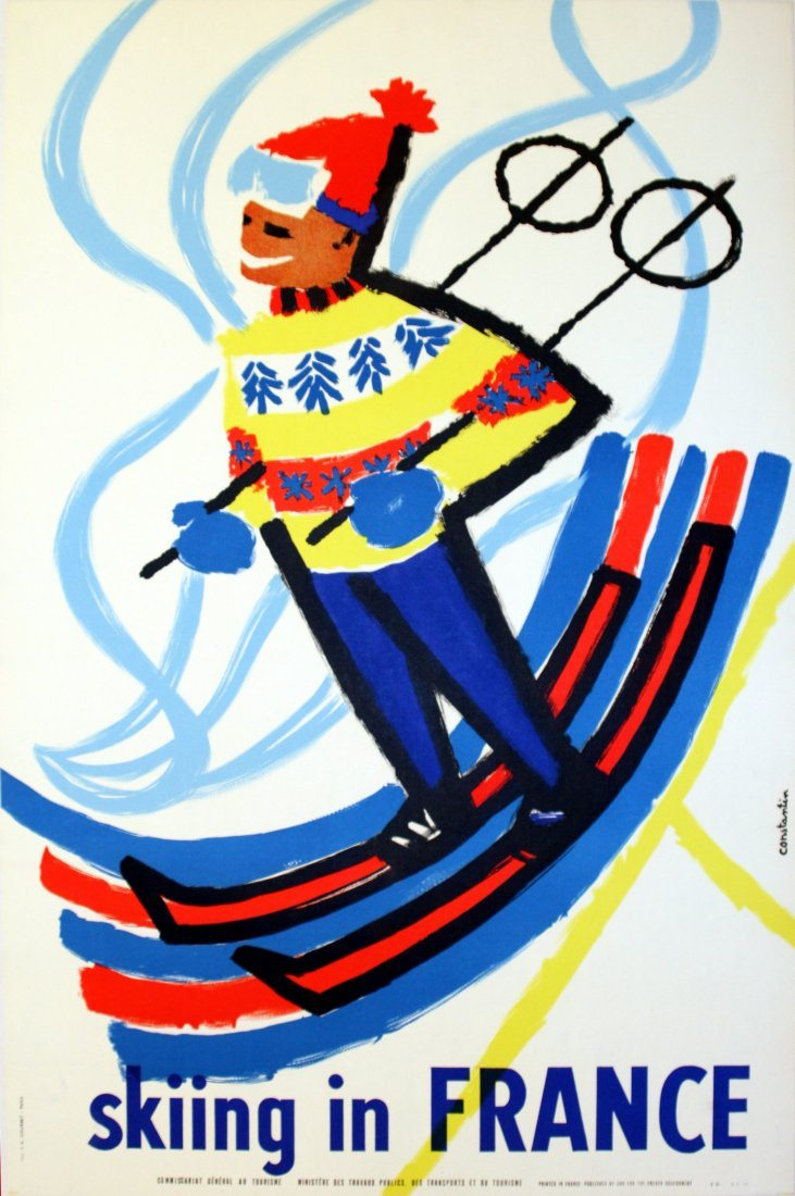 Original Skiing in France Poster Midcentury Modern
