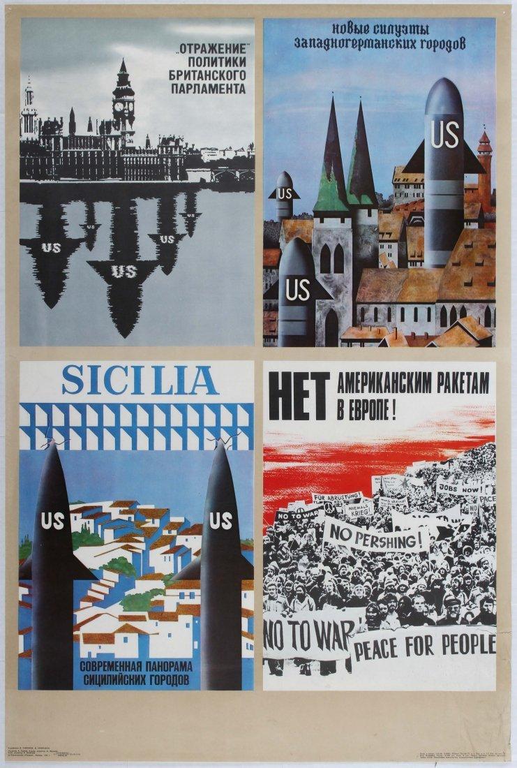 Soviet Propaganda Poster Anti - USA