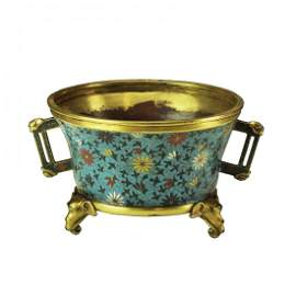 A Chinese cloisonne censor