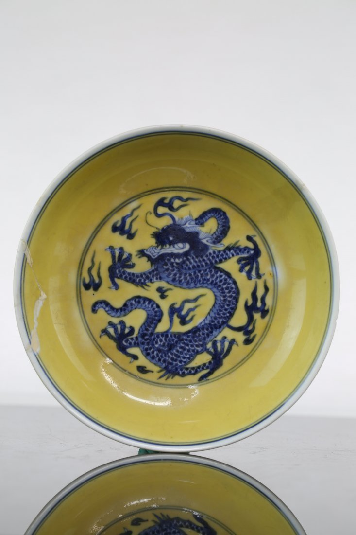 Chinese Porcelain Blue and White Dragon Plate on Yellow