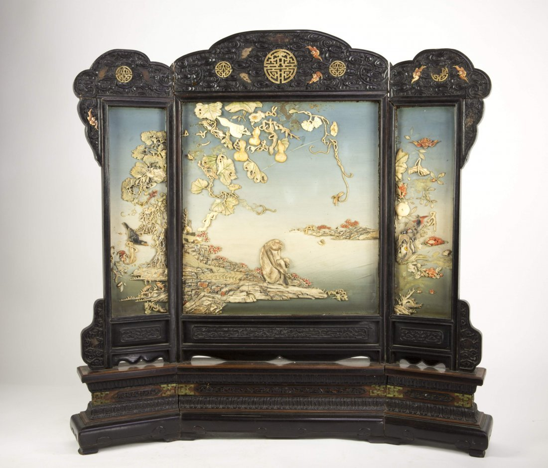 Chinese Imperial Zitan and Ivory Table Screen