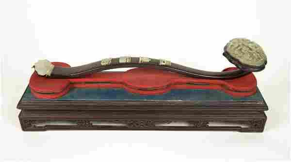 Chinese Zitan Jade Carvings Inlaid Ruyi