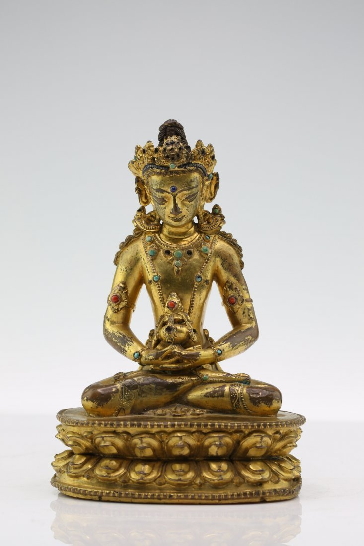 Chinese Gilded Bronze Seated Buddha