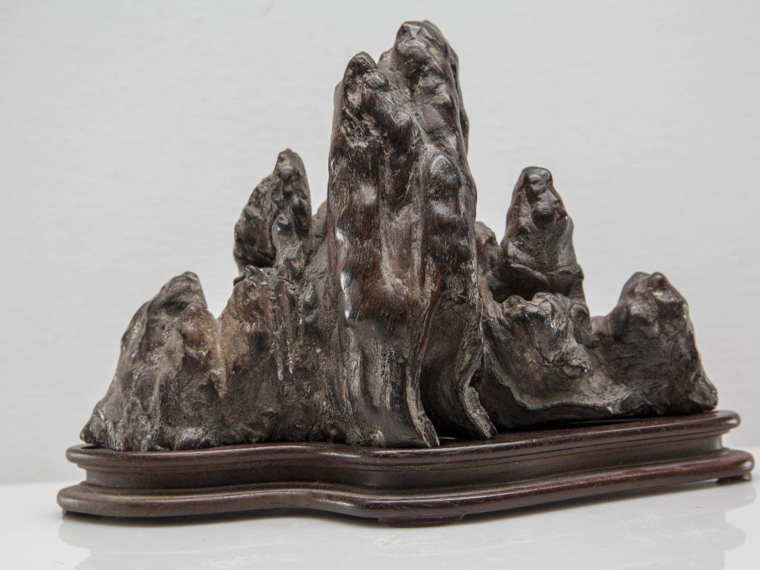 CHINESE BRONZE SCHOLAR'S TABLE ROCK STONE