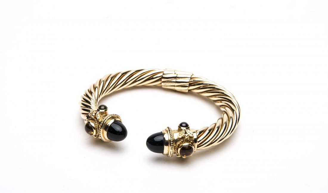14K GOLD AND ONYX CABLE TWIST CUFF  BRACELET