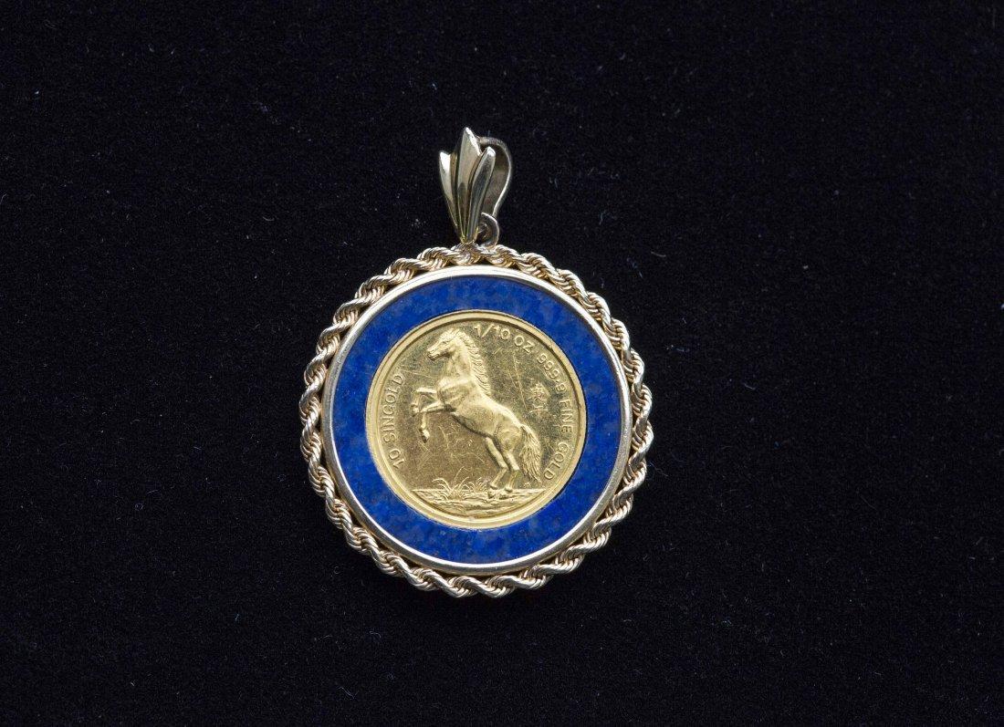 $10 GOLD SINGAPORE 1/10 OZ ,  LAPIS LAZULI & GOLD MOUNT