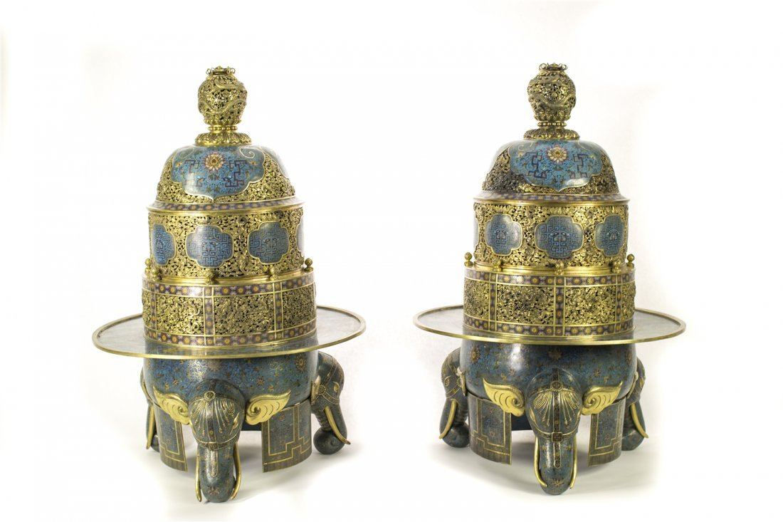 A PAIR OF MASSIVE CLOISONNE INCENSE BURNERS AND COVERS