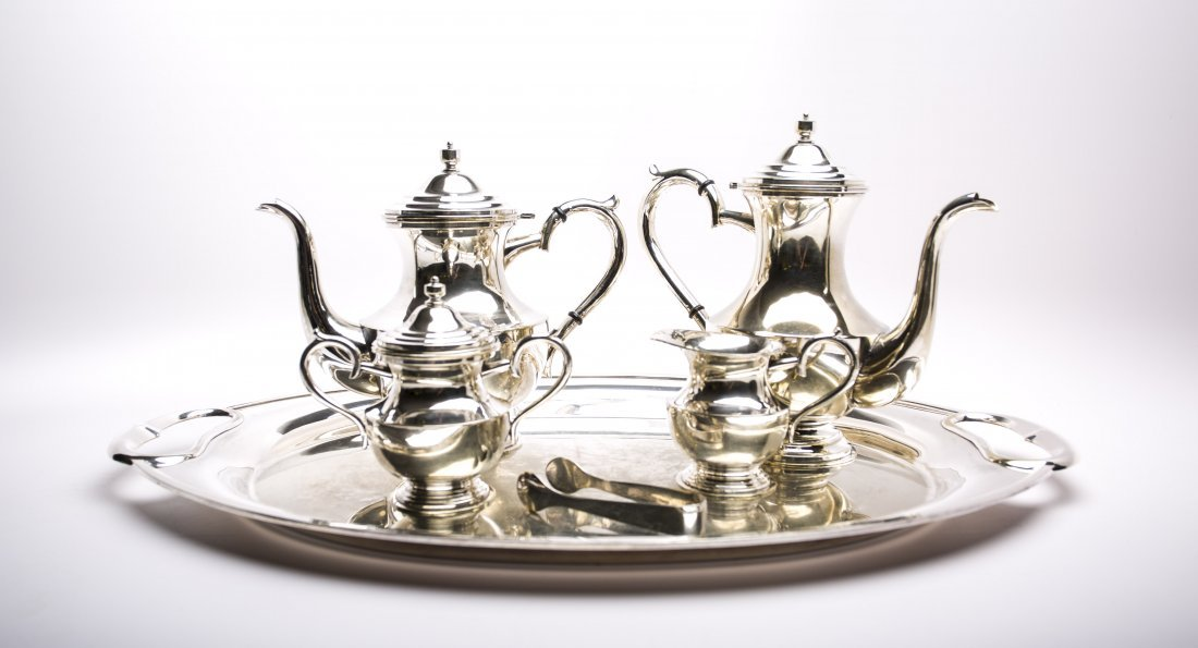 5 PC VINTAGE SILVER PLATED COFFEE AND TEA  SERVICE