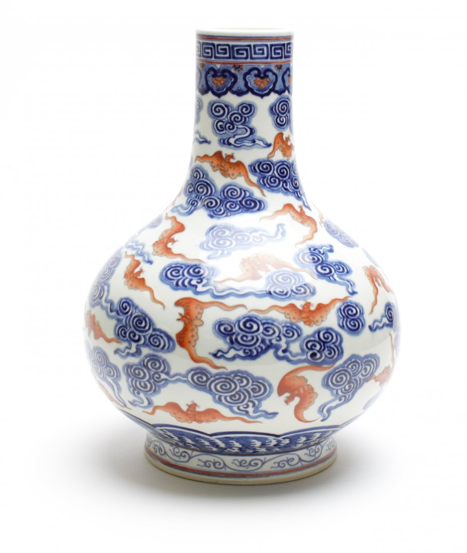 CHINESE PORCELAIN BLUE AND WHITE, IRON RED TIANQIU VASE