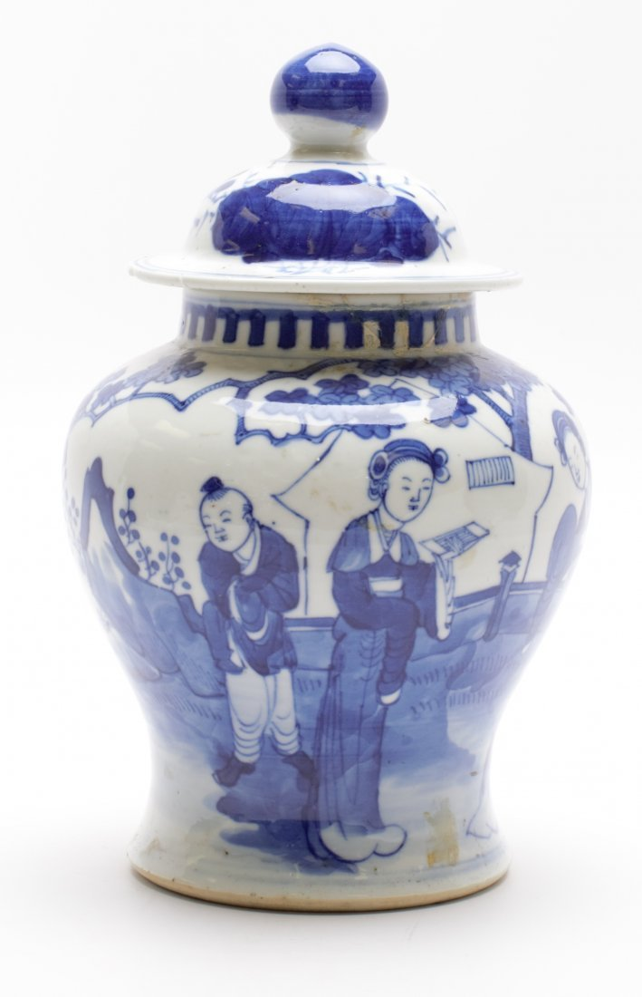 CHINESE PORCELAIN BLUE AND WHITE TEMPLE JAR WITH LID