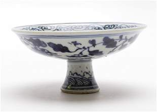 CHINESE PORCELAIN BLUE AND WHITE HIGH FOOT PLATE