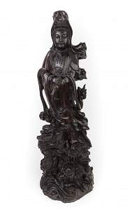 CHINESE ROSEWOOD STANDING GUANYIN