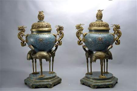 A PAIR OF LARGE CLOISONNE ENAMEL INCENSE BURNERS AND
