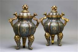 A PAIR OF CLOISONNE ENAMEL TRIPOD INCENSE BURNERS AND